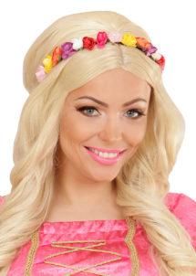 couronne de fleurs, accessoire fée déguisement, accessoire déguisement fée, accessoire hippie déguisement, accessoire déguisement hippie, accessoire couronne de fleurs, Bandeau Couronne de Fleurs, Multicolores