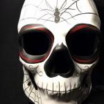 masque squelette mexicain, masque de déguisement, masque mexicain halloween, masque déguisement halloween, accessoire déguisement halloween masque, masque en papier maché, masque dia de la muerte, masque halloween Masque Squelette Mexicain Spiders, Jour des Morts, Fait Main