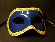 masque vénitien, loup vénitien, masque carnaval de venise, véritable masque vénitien, accessoire carnaval de venise, déguisement carnaval de venise, loup vénitien fait main Vénitien, Civette Monochrome Galon, Bleu