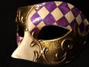 masque vénitien, loup vénitien, masque carnaval de venise, véritable masque vénitien, accessoire carnaval de venise, déguisement carnaval de venise, loup vénitien fait main Vénitien, Civette Damier, Lilas et Or