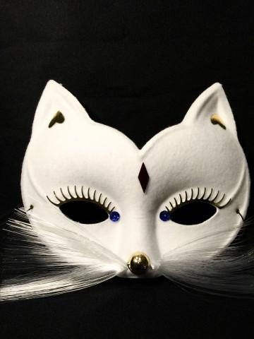 masque de chat, masque vénitien, loup Loup Baghera, Blanc