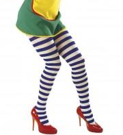 collants rayés, collant bleu et blanc, accessoire de clown, accessoire déguisement, collant à rayures, collants rayés, accessoire déguisement clown Collants Rayés, Bleus et Blancs