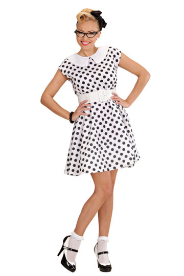 déguisement années 50, robe années 50 déguisement, costume années 50 femme, costume années 60 femme, déguisement années 60 femme, robe à pois déguisement femme, déguisement rock femme, déguisement sixties femme Déguisement Années 50 Blanc