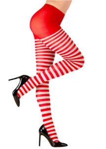 collants rayés, collant rouge et blanc, accessoire de clown, accessoire déguisement, collant à rayures, collants rayés, accessoire déguisement clown, Collant Rayé, Rouge et Blanc