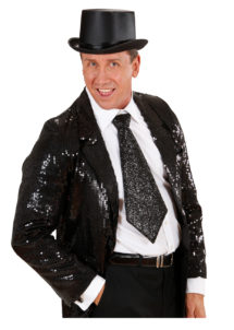 cravate large à paillettes, cravate clown, cravate à paillettes, cravate déguisement, accessoire déguisement, accessoire disco, cravate disco, cravate paillettes noire, cravate noire, Cravate Paillettes Glitter, Noire