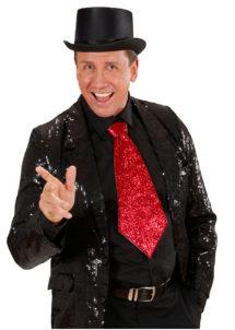 cravate large à paillettes, cravate clown, cravate à paillettes, cravate déguisement, accessoire déguisement, accessoire disco, cravate disco, cravate paillettes rouge, cravate rouge, Cravate Paillettes Glitter, Rouge