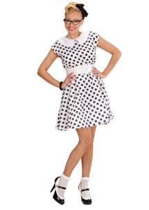 déguisement années 50, robe années 50 déguisement, costume années 50 femme, costume années 60 femme, déguisement années 60 femme, robe à pois déguisement femme, déguisement rock femme, déguisement sixties femme, Déguisement Années 50 Blanc