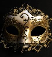 masque vénitien, loup vénitien, masque carnaval de venise, véritable masque vénitien, accessoire carnaval de venise, déguisement carnaval de venise, loup vénitien fait main Vénitien, Civette Giada, Noir