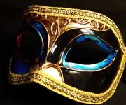 masque vénitien, loup vénitien, masque carnaval de venise, véritable masque vénitien, accessoire carnaval de venise, déguisement carnaval de venise, loup vénitien fait main Vénitien, Civette Décor, Bleu et Noir