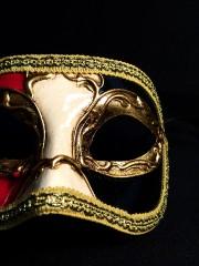 masque vénitien, loup vénitien, masque carnaval de venise, véritable masque vénitien, accessoire carnaval de venise, déguisement carnaval de venise, loup vénitien fait main Vénitien, Civette Décor, Rouge, Crème et Noir