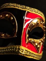 masque vénitien, loup vénitien, masque carnaval de venise, véritable masque vénitien, accessoire carnaval de venise, déguisement carnaval de venise, loup vénitien fait main Vénitien, Civette Décor, Rouge et Noir