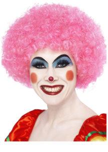 perruque clown rouge, perruque de clown femme, perruque afro rose, Perruque de Clown Rose