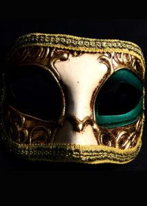 masque vénitien, loup vénitien, masque carnaval de venise, masque vénitien fait à la main, Vénitien, Civette Décor, Vert et Or