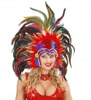 coiffe brésilienne, accessoire carnaval de rio, coiffe de carnaval, coiffure brésilienne, accessoire déguisement, déguisement brésilienne, coiffe brésilienne à plumes Coiffe Brésilienne, Rio