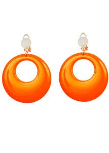 boucles d'oreilles oranges, bijoux disco, bijoux fluo, bijoux années 80, bijoux pour déguisements, accessoires fluos, accessoires années 80, collier disco, bijoux plastique fluo pas cher, Boucles d'Oreilles Années 80, Oranges