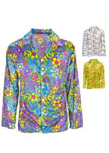 chemise hippie, déguisement hippie pour homme, Déguisement Hippie, Chemise Velours à Fleurs