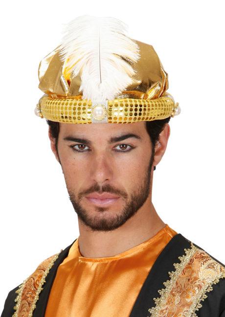 chapeaux oriental, coiffe orientale, chapeaux aladin, chapeaux orientals paris, coiffes orientales, chapeau doré paris, accessoire oriental, Chapeau de Sultan, Or et Plume