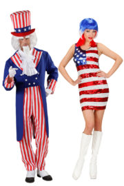 Déguisement Couple d'Américains, Oncle Sam et Miss USA