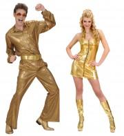 déguisements couples, déguisements disco Disco Paillettes et Disco Queen Or