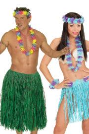 déguisements couples, déguisements hawai homme et femme, jupes hawaïennes Déguisement Couple d'Hawaïens