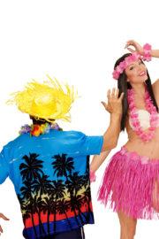 déguisements couples, déguisements hawai homme et femme, jupes hawaïennes Déguisement Couple d'Hawaïens Palmier