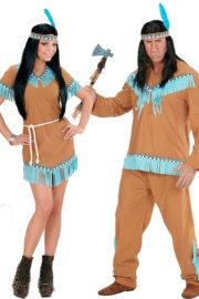 déguisements couples, déguisements d'indiens et d'indiennes, déguisements duos Déguisement Couple d'Indiens, Beige et Turquoise