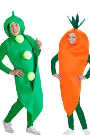 déguisements couples, déguisements légumes, déguisements petits pois carottes Déguisement Couple Carotte et Petit Pois