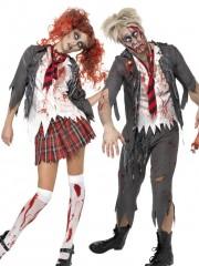 déguisements couples, déguisement écolière zombie, déguisements halloween, déguisements de zombies Déguisement Couple d'Ecoliers Zombies