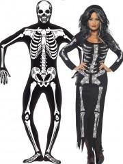 déguisements couples, déguisements de squelettes homme et femme, déguisements halloween Déguisement Couple de Squelettes