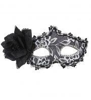loup vénitien, masque vénitien Loup Galon Noir et Argent, avec Fleur