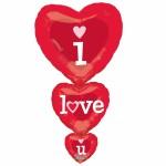 ballon hélium, ballon coeur, saint valentin, ballon I love U, ballon géant Ballon Aluminium, Coeurs Rouges I Love U