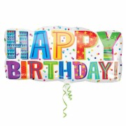 ballon hélium, ballon géant, ballon anniversaire Ballon Aluminium, Happy Birthday Bannière