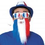 coupe du monde 2018, barbe équipe de france, accessoires euro 2016, accessoire de supporter, lunettes france, accessoires équipe de france, accessoire euro, tricolore, barbe drapeau france Barbe de Supporter, France, Bleu Blanc Rouge