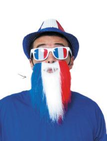 coupe du monde 2018, barbe équipe de france, accessoires euro 2016, accessoire de supporter, lunettes france, accessoires équipe de france, accessoire euro, tricolore, barbe drapeau france, Barbe de Supporter, France, Bleu Blanc Rouge