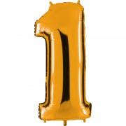 ballon chiffre, ballon alu chiffre, ballon chiffre 1 or Ballon Aluminium, Chiffre 1, Or