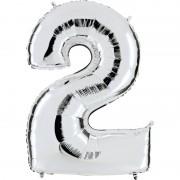 ballon chiffre, ballon alu chiffre, ballon chiffre 2 argent Ballon Aluminium, Chiffre 2, Argent