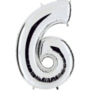 ballon chiffre, ballon alu chiffre, ballon chiffre 6 argent Ballon Aluminium, Chiffre 6, Argent