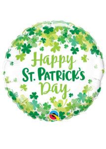 ballon aluminium, ballon hélium, ballon trèfle, ballon saint patrick, décorations saint patrick, Ballon Saint Patrick, Happy St Patrick's Day, en Aluminium