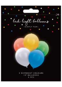 ballons à led, ballons lumineux, ballons fluos, ballons de baudruche, ballons hélium, ballons anniversaires, ballons lumineux, 5 Ballons Lumineux avec LED intégrée, Multicolores