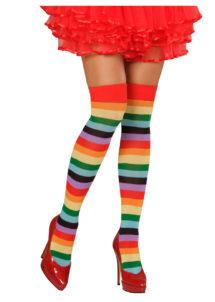 bas arc en ciel, chaussettes rayées, bas multicolores, collants rayés, bas déguisement, collant déguisement, accessoire déguisement, Bas Arc en Ciel