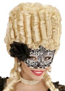 loup vénitien, masque vénitien, loup carnaval, masque carnaval de venise, Loup Galon Noir et Argent, avec Fleur