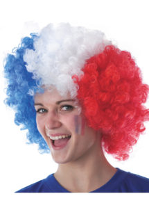 perruque de supporter, perruque france, perruque euro, perruque bleu blanc rouge, perruque tricolore, Perruque de Supporter France, Afro Bleu Blanc Rouge