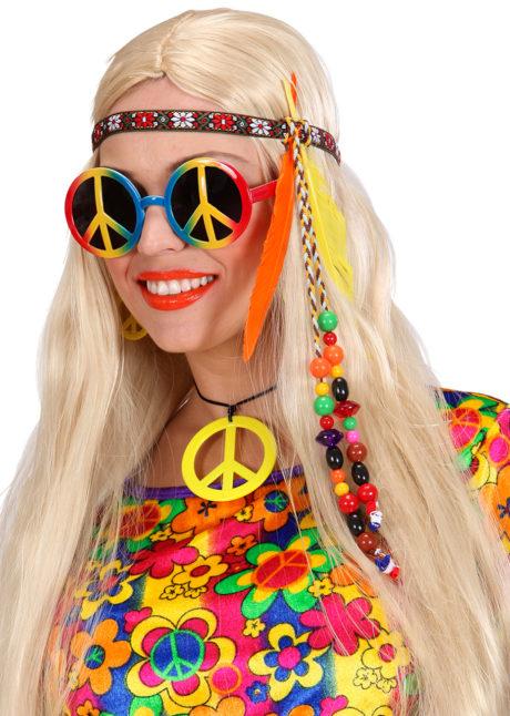 accessoire hippies, accessoires psychédélique, bandeau de hippie, bandeau à plumes, bandeau hippies, accessoire de déguisement, accessoire déguisement hippie, Bandeau Hippie, Plumes et Perles
