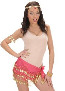bandeau oriental, ceinture orientale, accessoire déguisement oriental, accessoire oriental déguisement, accessoire danseuse orientale déguisement, Bandeau de Taille Oriental, Rose