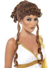 perruque femme, perruque paris, perruque romaine, perruque déesse grecque, perruque antiquité, perruque de déesse, perruque grèce antique Perruque Déesse Romaine et Grecque, Hélène de Troie, Châtain