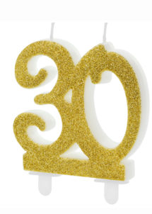 bougie 30 ans, bougies chiffres, bougies d'anniversaire, Bougie d'Anniversaire, 30 ans, Paillettes Dorées