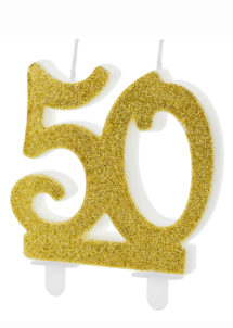 bougie 50 ans, bougies chiffres, bougies d'anniversaire, Bougie d'Anniversaire, 50 ans, Paillettes Dorées