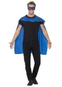 accessoire héros, accessoire de super héros, kit de super héros, cape de héros, accessoire déguisement héros, accessoire super héros déguisement, Kit de Super Héros, Cape et Masque, Bleu