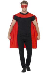 accessoire héros, accessoire de super héros, kit de super héros, cape de héros, accessoire déguisement héros, accessoire super héros déguisement, Kit de Super Héros, Cape et Masque, Rouge