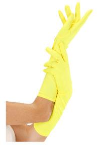gants jaunes, gants fluos, gants déguisements, Gants Longs Néon, Jaunes